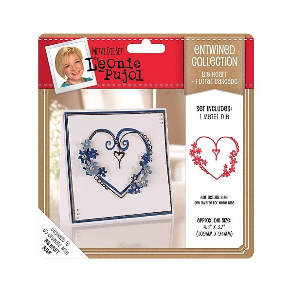 Crafter`s Companion - Leonie Pujol - Die - Entwined Collection - Big Heart - Floral Cascade - LP-MD-