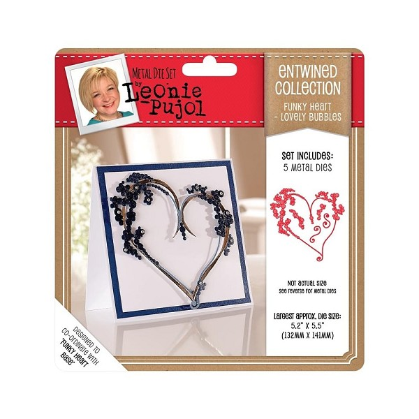 Crafter`s Companion - Die - Leonie Pujol - Entwined Collection - Big Heart - Lovely Bubbles