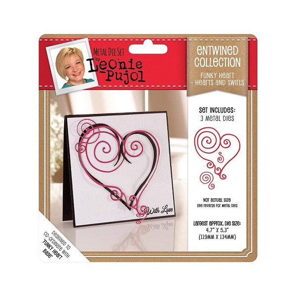 Crafter`s Companion - Die - Leonie Pujol - Entwined Collection - Folk Heart - Hearts and Swirls