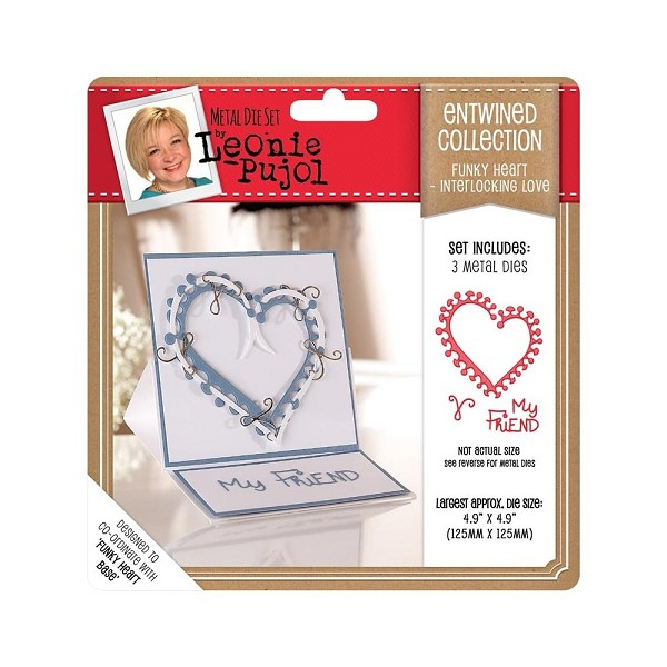 Crafter`s Companion - Die - Leonie Pujol - Entwined Collection - Funky Heart - Interlocking Love