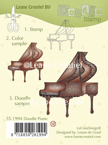 Leane Creatief - Clearstamp - Doodle - Piano - 55.1994