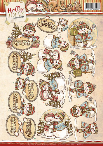 Yvonne Creations - 3D-knipvel A4 - Holly Jolly - Snowmen - CD10749