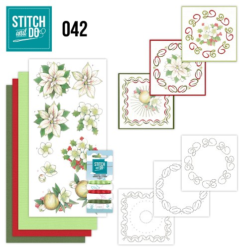Card Deco - Kaartenpakket - Stitch & Do No. 42 - White Cristmas Flowers - STDO042