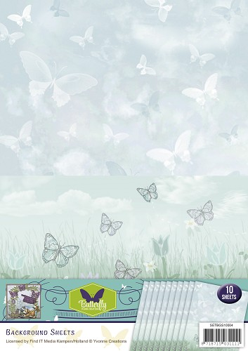 Yvonne Creations - Achtergrondpapier - Butterfly Collection - BGS10004