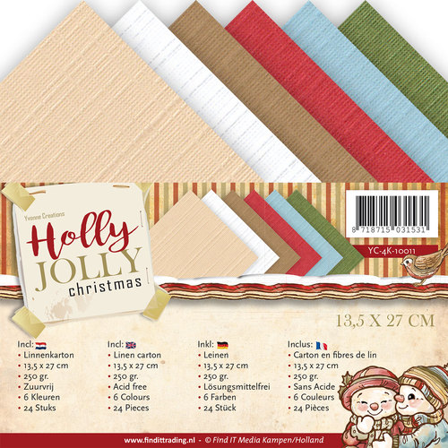Yvonne Creations - Linnenpakket 135 x 270mm - Holly Jolly - YC-4K-10011