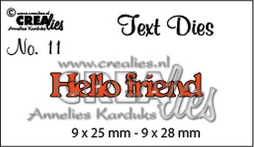 Crealies - Die - Tekststans - English Text - Hello Friend
