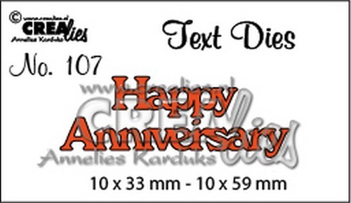 Crealies - Die - Tekststans - English Text - Happy Anniversary