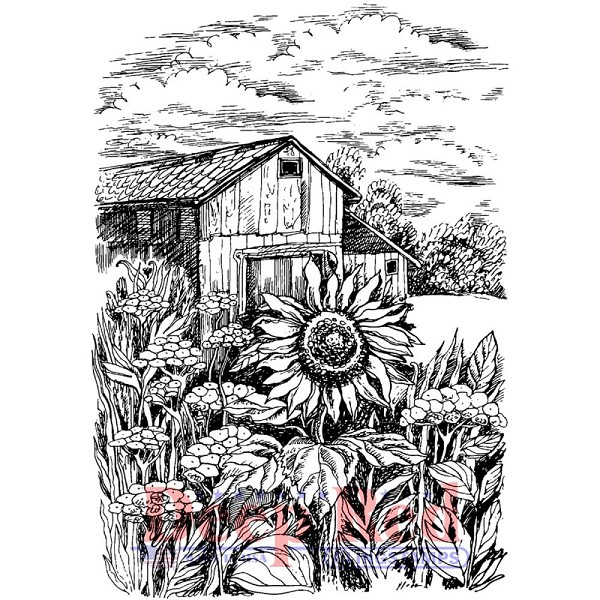 Deep Red - Cling Stamp - Harvest Sunflower - 4X505569