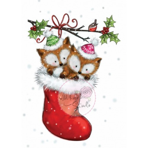 Wild Rose Studio`s - Clearstamp - Foxes In Stocking - CL499