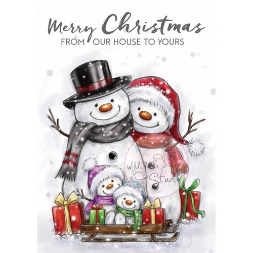 Wild Rose Studio`s - Clearstamp - Snowman Family - CL496