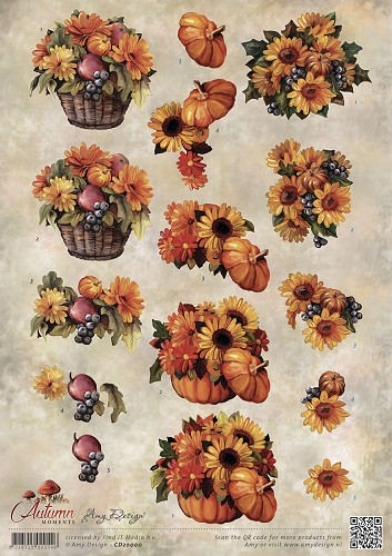 Amy Design - 3D-knipvel A4 - Autumn Moments - Herfstbloemen