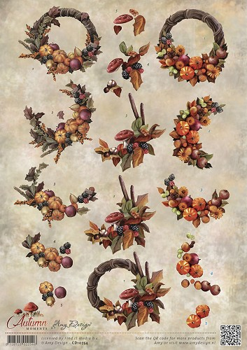 Amy Design - 3D-knipvel A4 - Autumn Moments - Herfstkransen - CD10754