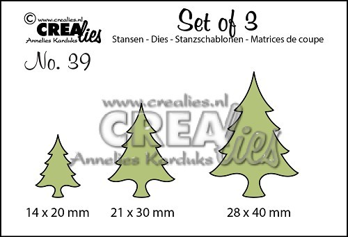 Crealies - Die - Set of 3 - No. 39 - Kerstbomen dun