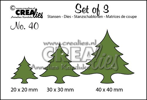 Crealies - Die - Set of 3 - No. 40 - Kerstbomen dik
