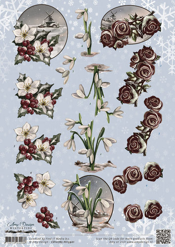 Amy Design - 3D-knipvel A4 - Wintertide - Flowers - CD10765