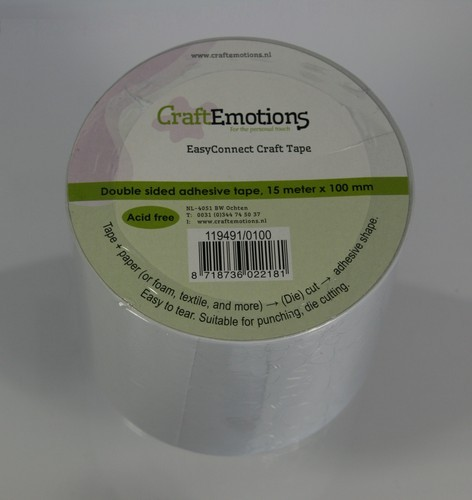 Craftemotions - Dubbelzijdig tape - Rol - 100mm