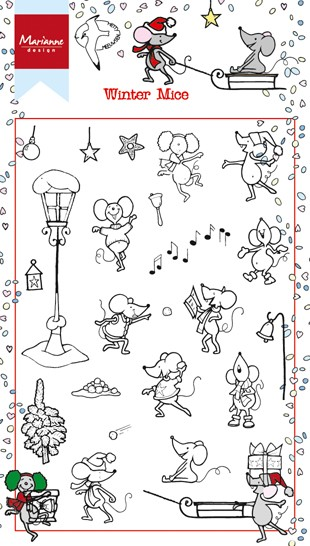 Marianne Design - Hetty Meeuwsen - Clearstamp - Winter Mice - HT1608