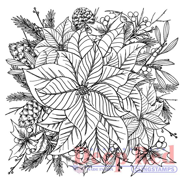 Deep Red - Cling Stamp - Color Me Poinsettia - 4X505566