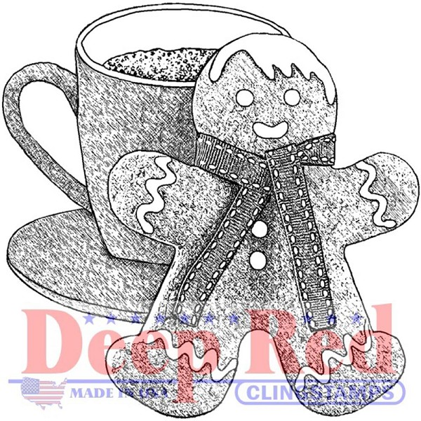 Deep Red - Cling Stamp - Gingerbread Man & Cocoa - 3X405551