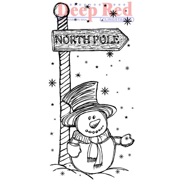 Deep Red - Cling Stamp - North Pole - 3X405554