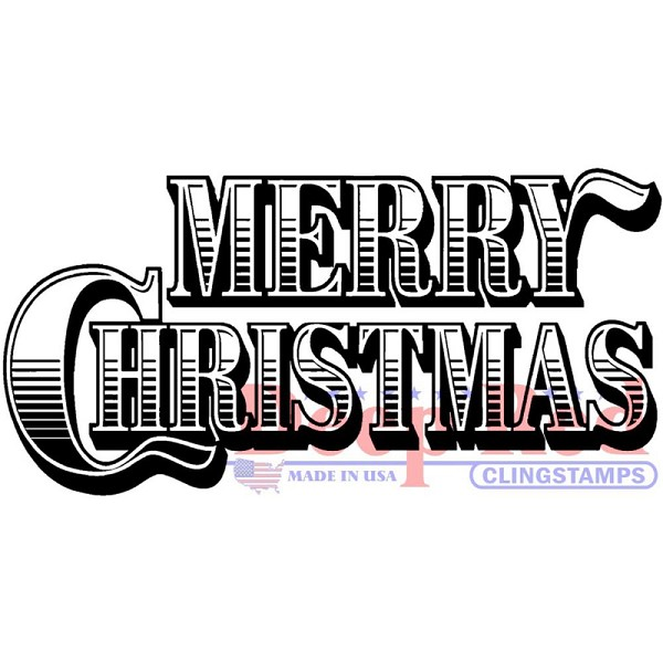 Deep Red - Cling Stamp - Merry Christmas - 3X405553