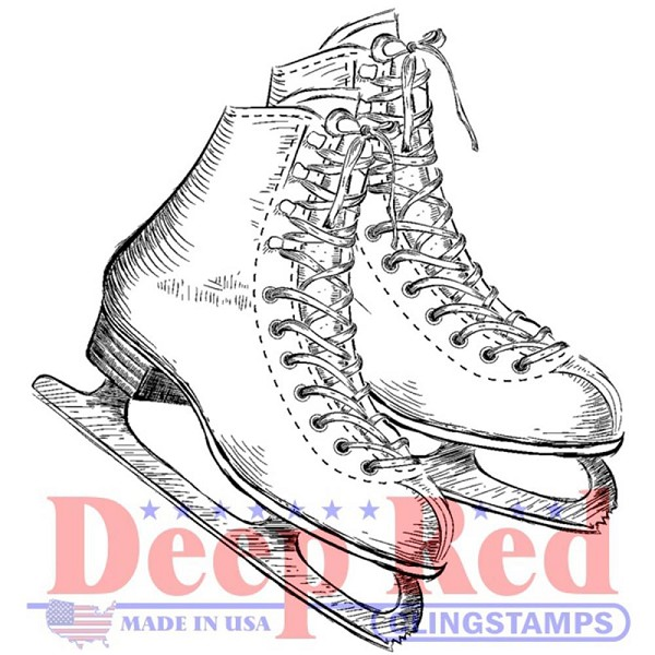 Deep Red - Cling Stamp - Ice Skates - 3X405552