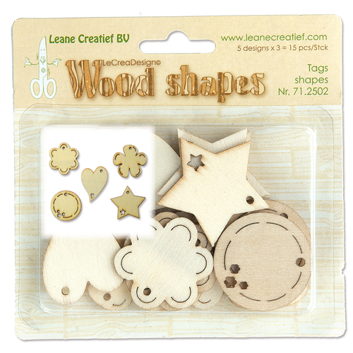 Leane Creatief - Wooden Ornaments - Tag shapes - 71.2502