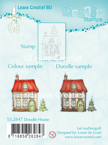 Leane Creatief - Clearstamp - Doodle - House - 55.2847