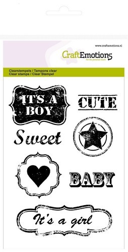 CraftEmotions - Clearstamp - Lovely Baby - Vintage Baby Tekst Labels (ENG)  - 130501/1246