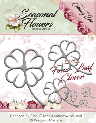 Card Deco - Precious Marieke - Die - Seasonal Flowers - Four Leaf Clover