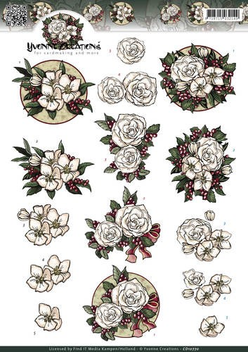Yvonne Creations - 3D-knipvel A4 - White Christmas flower - CD10770