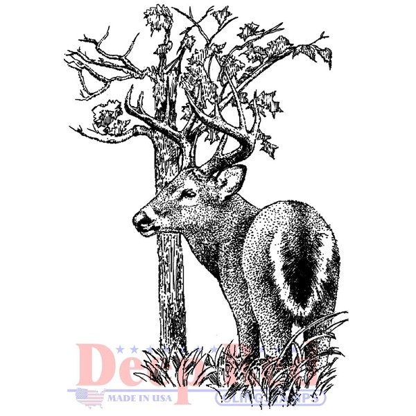 Deep Red - Cling Stamp - Whitetail Buck - 3X05585