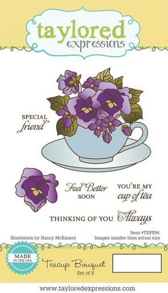 Taylored Expressions - Cling Stamp - Teacup Bouquet - TEPS94