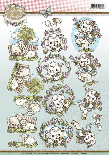 Yvonne Creations - 3D-knipvel A4 - Spring-tastic - Sheep - CD10815