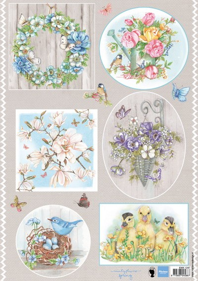 Marianne Design - Els Wezenbeek - 3D-knipvel A4 - Country Flowers 1 - EWK1247