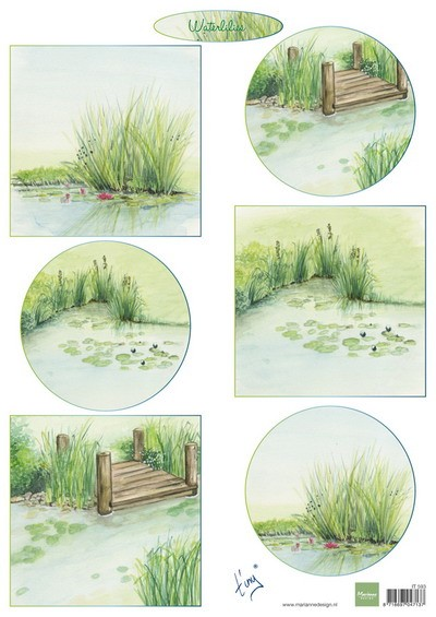 Marianne Design - Tiny`s - 3D-knipvel A4 - Tiny`s waterlilies