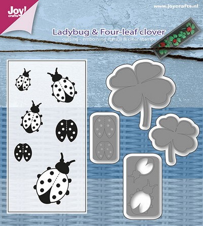 Joy! crafts - Clearstamp met mal - Ladybug and Four-leaf Clover