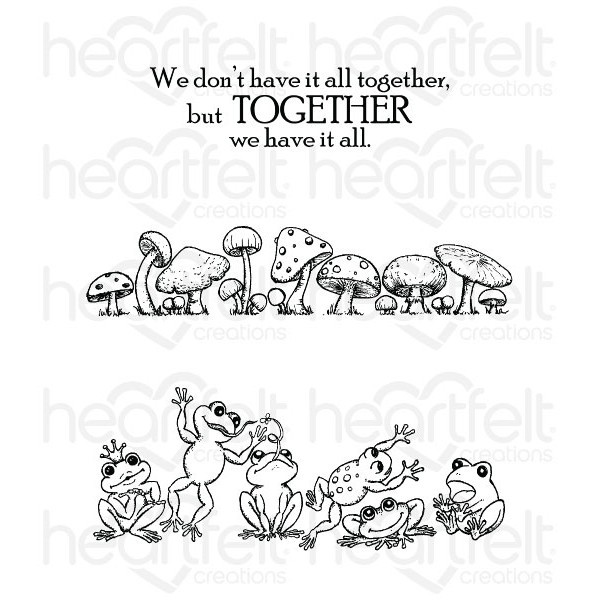Heartfelt Creations - Cling Stamp - Winking Frog Collection - Leaping Frogs - HCPC3729