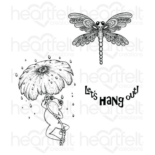 Heartfelt Creations - Cling Stamp - Winking Frog Collection - Froggy Hangout - HCPC3730