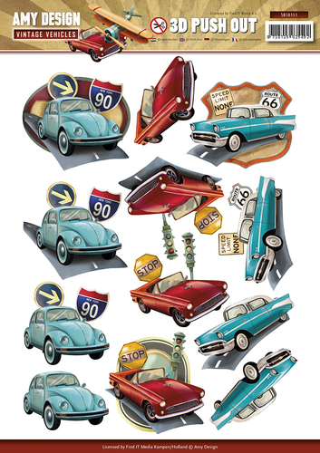 Amy Design - Uitdrukvel A4 - Vintage Vehicles - SB10151