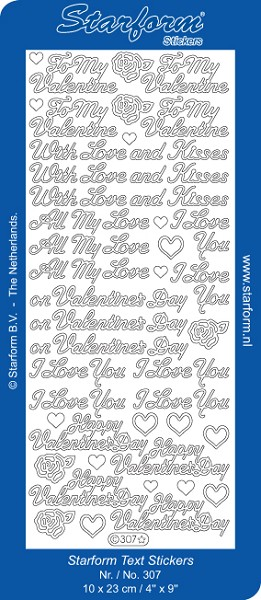 Starform - Stickervel - Teksten - To my Valentine: Zilver - 307