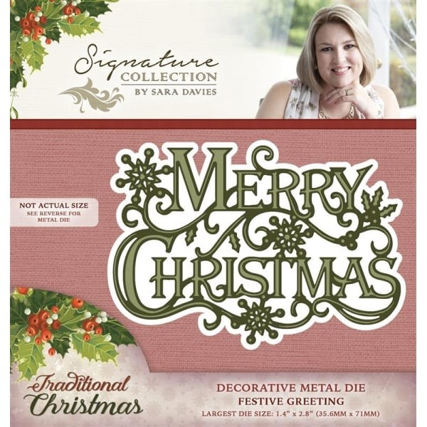Crafter`s Companion - Sara Davies - Die - Traditional Christmas - Festive Greeting - S-TX-MD-GREET