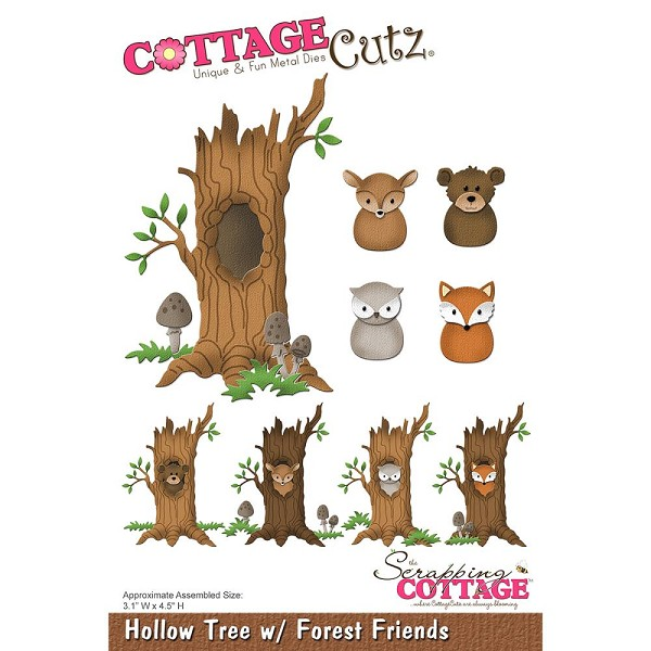 Cottage Cutz - Die - Hollow Tree with Forest Friends