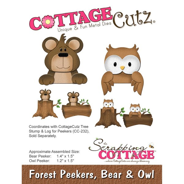 Cottage Cutz - Die - Forest Peekers, Bear & Owl