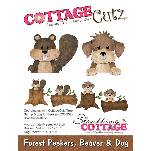 Cottage Cutz - Die - Forest Peekers, Beaver & Dog - CC-224
