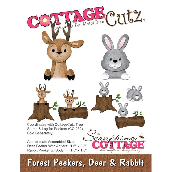 Cottage Cutz - Die - Forest Peekers, Deer & Rabbit - CC-225