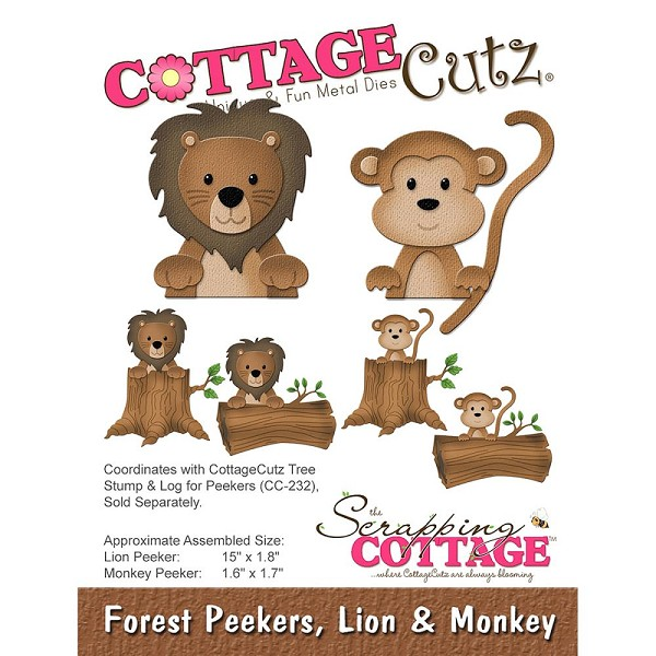 Cottage Cutz - Die - Forest Peekers, Lion & Monkey - CC-227