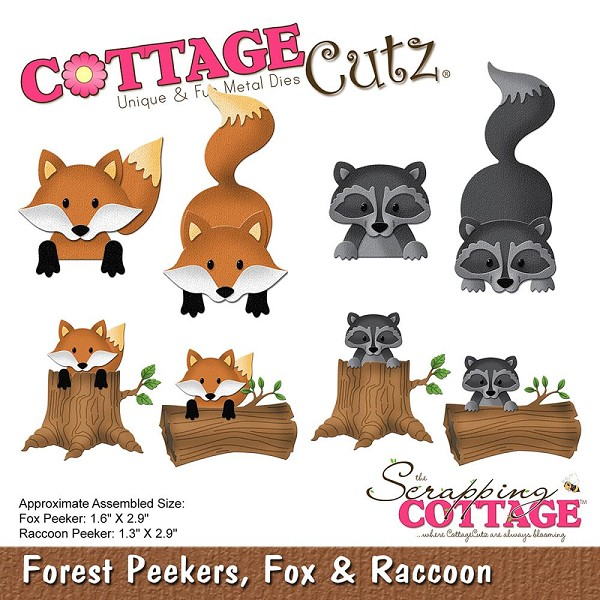 Cottage Cutz - Die - Forest Peekers, Fox & Raccoon - CC-226