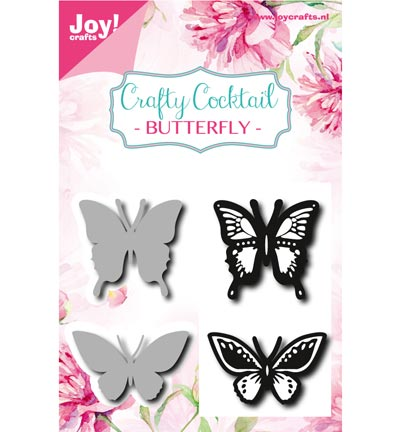 Joy! crafts - Noor! Design - Die met clearstamp - Crafty Cocktail - Butterfly - 6004/0010