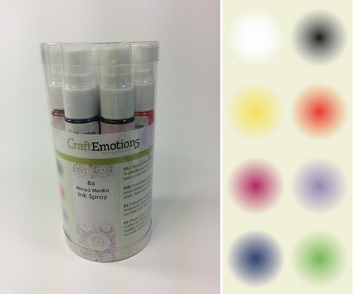 CraftEmotions - Mixed Media - Ink Spray - Opaque Basic - Set van 8 - 133001/0001